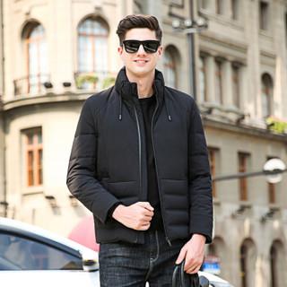 恒源祥羽绒服男装冬季加厚白鸭绒外套立领上衣 黑色 3XL(190/104A)