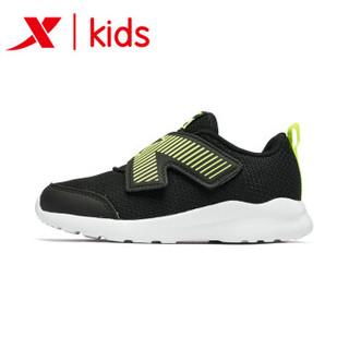 特步童鞋 儿童鞋子男童运动鞋小童女童鞋飞机鞋男孩休闲鞋 681116329161 黑绿 27