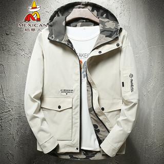 稻草人(MEXICAN)夹克男简约休闲短款男士外套户外连帽上衣夹克外套  J1902 米白 2XL