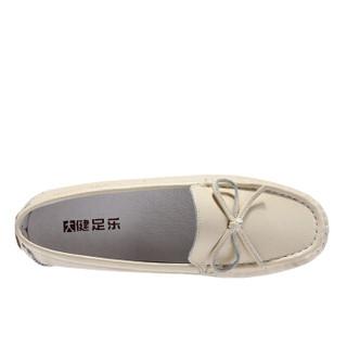 健足乐 休闲舒适蝴蝶系带装饰坡跟妈妈皮鞋 J911512002 米白 35