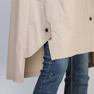 丝柏舍2019春季新款女时尚简约纯色宽松翻领单排扣中长款气质衬衫 S91R0321CA81M  卡其色 M