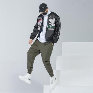 富贵鸟(FUGUINIAO)工装裤男嘻哈裤宽松束脚裤男韩版潮流个性街头小脚裤子 军绿 L