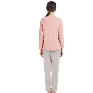 顶瓜瓜睡衣女棉质春夏2019新款纯色圆领包边长袖睡衣套装jd01107zy 橡皮红女 170