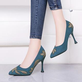 GUCIHEAVEN 古奇天伦 尖头模特走秀鞋百搭细跟刺绣复古风单鞋 9302 蓝色 37