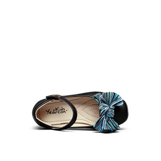 意尔康童鞋女童鞋子2019春季新款甜美公主风蝴蝶结儿童单鞋小皮鞋ECZ9123649 黑色 31