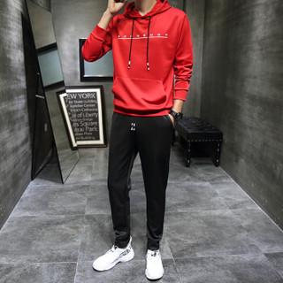 卡帝乐鳄鱼(CARTELO)卫衣套装男2019春季新款韩版时尚连帽运动两件套长袖套头衫 红 4XL