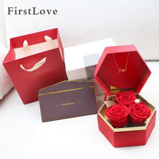 FirstLove 红色玫瑰永生花项链礼盒 同城鲜花速递520情人节母亲节生日礼物结婚纪念日创意礼品送女生朋友妈妈