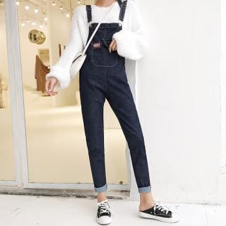 城加(CITYPLUS) 2019新款背带裤女九分宽松弹性小脚高腰背带学生裤CWKN191171深蓝色M