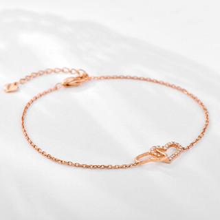 赛菲尔 钻石手链女款 18K玫瑰金心心相印金链子 桃心款 总约8分