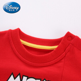 迪士尼 Disney 自营童装男童中小童针织圆领卫衣外套2019春夏新款 DA9166A7E05 大红 100