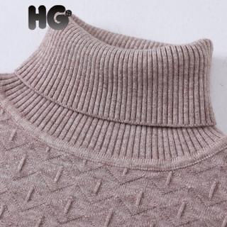 HG冬季新款高领毛衣女韩版修身加厚保暖提花纹打底衫百搭 白色 170/92A/XL