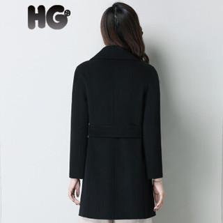 HG中长款秋冬女士羊毛大衣双面呢西装领无羊绒收腰呢子外套潮 驼色 155/80A/S