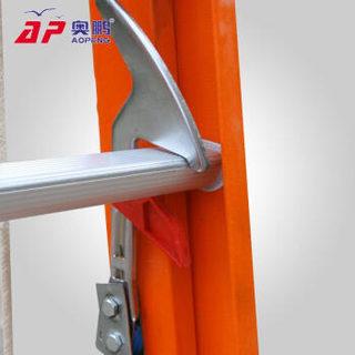 奥鹏 绝缘梯子 玻璃钢单侧人字安全梯 工程加厚工业梯 伸缩工业梯升降梯子6.2m 705-620