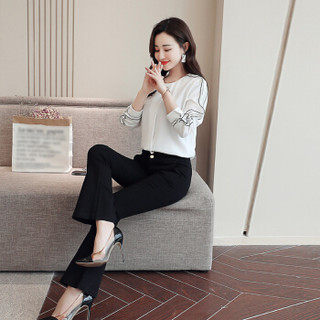 米兰茵(MILANYIN)女装 2019年春季纯色通勤套头圆领长袖直筒纽扣常规衬衫 ML19162 白色 XL