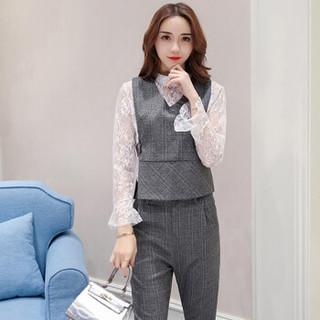 米兰茵 MILANYIN 女装 2019年春季时尚新款潮流三件套纯色V领套装 ML19093 灰色 M