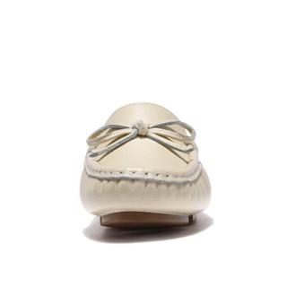 健足乐 休闲舒适蝴蝶系带装饰坡跟妈妈皮鞋 J911512002 米白 40