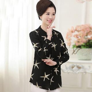 俞兆林 2019新款中老年女装40-50岁妈妈装春秋款T恤上衣 YWMM191369 黑色 XL