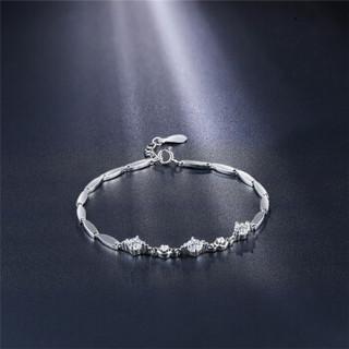 鸣钻国际 心愿 白18k金钻石手链手串手饰女款 送女友生日礼物