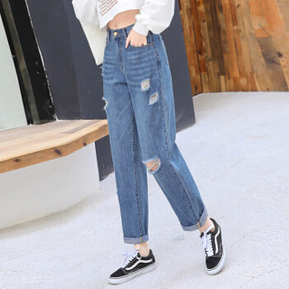 米兰茵 MILANYIN 女装 2019年春季新款韩版水洗九分裤高腰牛仔裤 ML19238 图片色 XL