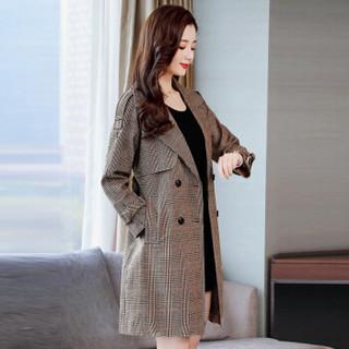 米兰茵(MILANYIN)女装 2019年春季时尚潮流舒适简约个性中长款长袖格子风衣 ML19175 卡格 L