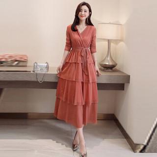 米兰茵(MILANYIN)女装 2019年春季纯色时尚潮流舒适简约个性中长款长袖连衣裙 ML19046 粉色 M