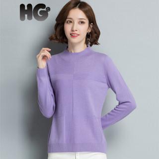 HG羊毛衫女秋冬短款套头韩版上衣半高领毛衣休闲针织打底线衣 紫罗兰 170/92A/XL
