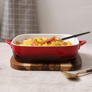 松发 陶瓷烘焙五件套装 芝士焗饭盘烤盘 红色家用餐具碗碟盘套装 烤箱适用