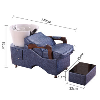 洛克菲勒 发廊专用洗发床洗头椅冲水床陶瓷盆美发床蓝色