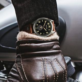 艾戈勒(agelocer)北卡罗来纳系列瑞士手表 男士机械手表全自动防水夜光大日历军表 有银钉 3101A2