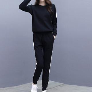 MAX WAY  女装 2019年春季新款韩版潮学生宽松圆领长袖显瘦跑步服卫衣两件套 MWYH090 黑色 S