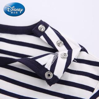 迪士尼 Disney 自营童装女童中小童时尚针织长袖T恤上衣2019春夏新款 DA9169D3E02 白藏青细条 100