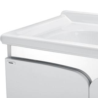 摩恩(MOEN)三孔冰晶白800MM柜体+梳妆镜+89121 浴室柜洗脸盆浴室梳妆镜柜组合套装 配抽拉龙头