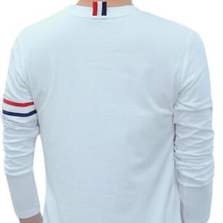 猫人 MiiOW T恤男2019春季新款青年圆领修身韩版长袖T恤打底衫男KC-T217白色XL