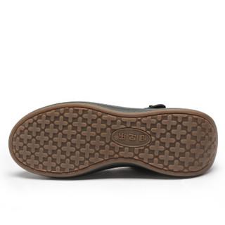 健足乐 中老年人舒适坡跟优雅大方妈妈皮鞋 J911007002 黑色 38