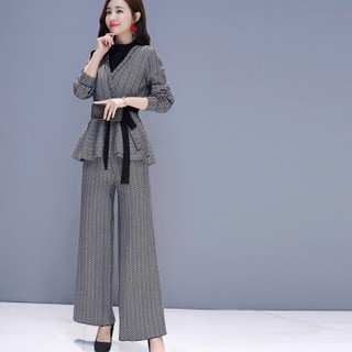 米兰茵 MILANYIN 女装 2019春季时尚简约条纹优雅时尚修身上衣+裤子两件套 ML19105 图片色 XL