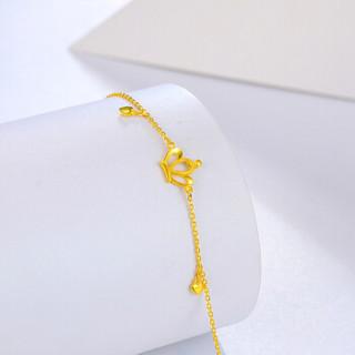 周六福珠宝 女款足金时尚皇冠简约黄金手链 AB072656 约3.28g 16+1.5cm