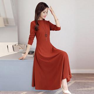 米兰茵(MILANYIN)女装 2019年春季圆领长袖长裙拉链X型舒适修身纯色连衣裙 ML19052 焦糖色 XL