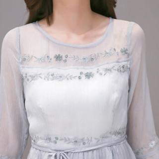 丝柏舍年春新款纯色圆领荷叶袖系带修身中长款显瘦连衣裙  S81R0480LA11S   灰色 S