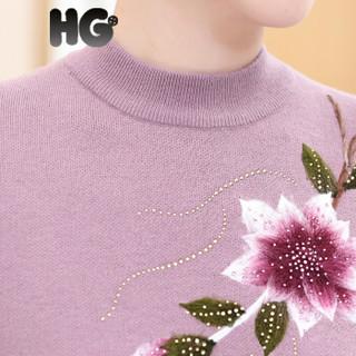 HG半高领毛衣女秋冬妈妈绣花短款套头针织打底衫中年加厚线衣 驼色 165/88A/L
