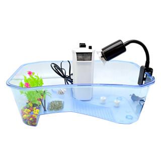 汉洋 HANYANG 乌龟缸带晒台开式式鱼缸塑料龟缸龟箱巴西龟水龟草龟鳄龟甲鱼龟盆 蓝色小号
