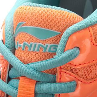 LI-NING 李宁 羽毛球系列女子羽毛球训练鞋 AYTN042 荧光浅橙/水池蓝 35.5码