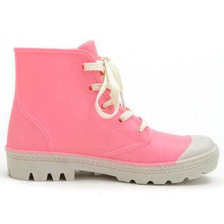 御乐 雨鞋时尚帆布短靴防水雨靴胶鞋水鞋套鞋 DDFB001 粉色 39