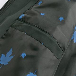 南极人夹克男2019春季新品时尚简约棒球领男士条纹印花舒适休闲夹克外套 军绿色2907 2XL