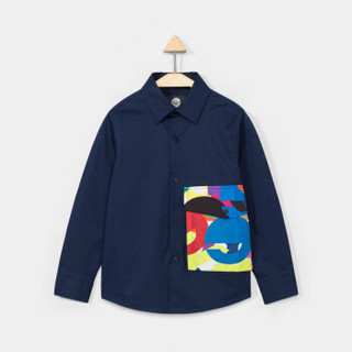 gxg kids童装上衣藏青口袋休闲衬衣男童春款长袖衬衫 藏青色 130