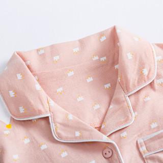 顶瓜瓜(dingguagua)睡衣儿童春夏男女童纯棉可爱皇冠印花休闲简约家居服套装可外穿 6013 深粉色 160
