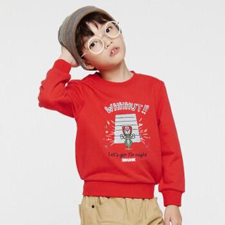 gxg kids童装儿童春红色圆领套头上衣男童纯棉卫衣潮E18131023 红色 110