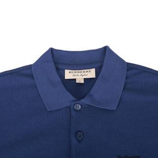 BURBERRY 巴宝莉 男款亮靛蓝三重徽标棉质短袖POLO衫 80009031 S码