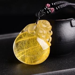 慈灵阁 6175679 发晶貔貅水晶饰品金发晶吊坠