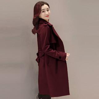 米兰茵(MILANYIN)女装 2019年春季时尚潮流舒适简约个性修身中长款纯色长袖风衣 ML19174 酒红色 2XL