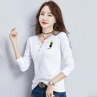 LAXJOY 朗悦 圆领常规款长袖女士T恤 LWTC191374 白色 M